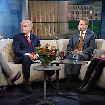 Niina Hongan vieraina sohvalla olivat SDP:n kansanedustaja, talousvaliokunnan entinen puheenjohtaja Jouko Skinnari, Kokoomuksen kansanedustaja ja talousvaliokunnan jäsen Harri Jaskari sekä Vihreiden kansanedustaja ja talousvaliokunnan jäsen Johanna Karimäki.