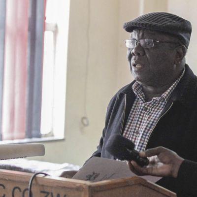 Zimbabwen pääministeri Morgan Tsavangirai puhumassa.