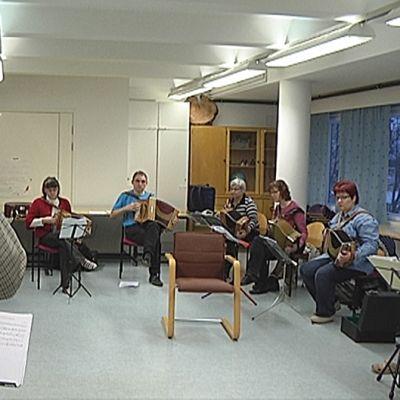 Ihmiset soittavat luokassa harmonikkaa