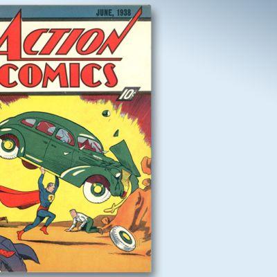 Action Comics -lehden numero, jossa supersankari Teräsmies esiintyy ensimmäistä kertaa.