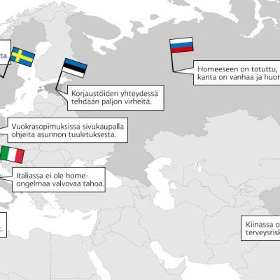 Yle Uutisten kirjeenvaihtajat ja avustajat selvittivät asemamaidensa suhtautumista homeeseen.