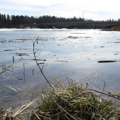 Simojoki keväällä 2013 tulvassa. Taustalla Nelostien silta.