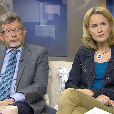 Verotusneuvos Markku Hirvonen ja toimittaja Minna Knus-Galán.