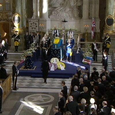 Prinsessa Lilianin hautajaiset  Tukholman linnan kirkossa.
