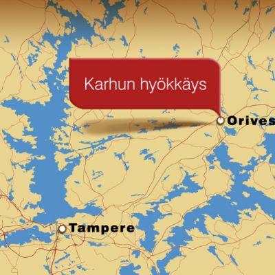 Kartta, jossa Tampere ja Orivesi.