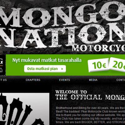 Ruutukaappaus Mongols Nation MC -ryhmän sivuilta. Keskellä näkyy VR:n mainosbanneri.