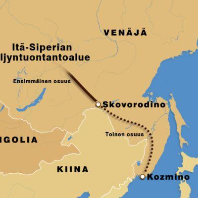 Karttakuva ESPO-öljyputken reitistä