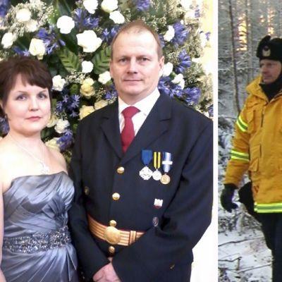 Vuoden palomies Tuomo Halmeslahti kiiruhti juhliin uoraan Läsäkosken tulvatyömaalta.