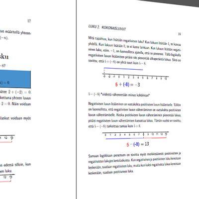 Kuva Oppikirjamaratonissa suunniteltavan matematiikan kirjan sivuilta.