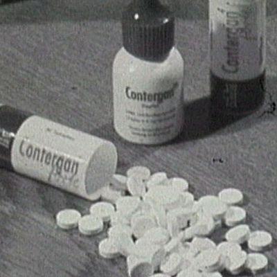 Talidomidia sisältänyttä lääkettä myytiin Contergan-nimellä 1950- ja 1960-luvulla.