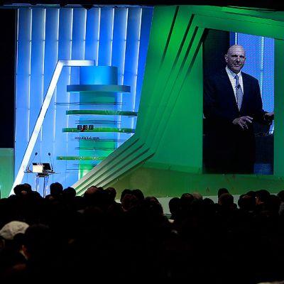 Microsoftin toimitusjohtaja Steve Ballmer puhuu Soul Digital Forum -tapahtuman avajaisissa.