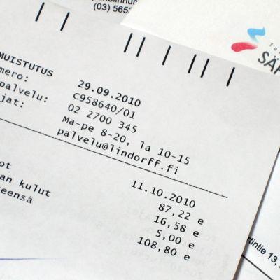 Tampereen sähkölaitoksen maksumuistutus.