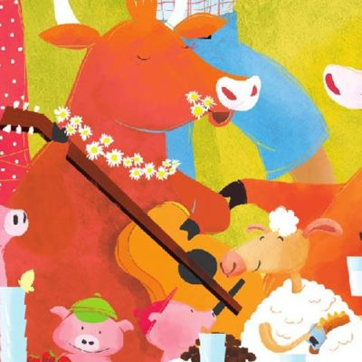 Hämäläisten kyläjuhlien Kuokkavieras- postikortissa on soittava lehmä, possuja ja lampiaita