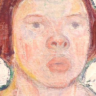 """Yksityiskohta Tyko Sallisen vaimoaan """"Mirriä"""" esittävästä maalauksesta."""