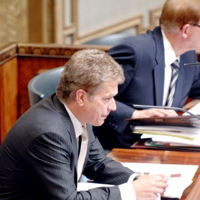 Eduskunnan puhemies Sauli Niinistö vuonna 2008.