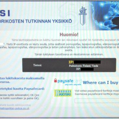 Nettikaappaus sivustolta, joka jäljittelee oikean poliisin varoitusviestiä.