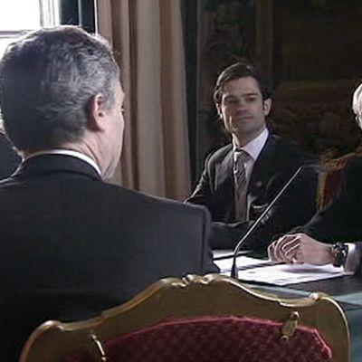 Fredrik Reinfeldt,  prinssi Carl Philip ja Ruotsin kuningas Kaarle XVI Kustaa.