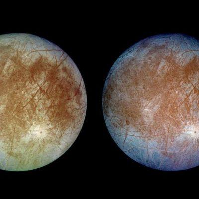Kaksi kuvaa Jupiterin Europa-kuusta.