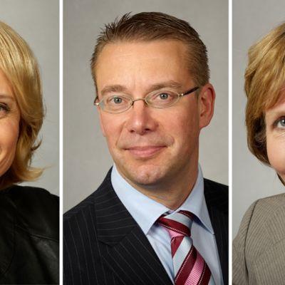 Päivi Räsänen, Stefan Wallin ja Anna-Maja Henriksson.