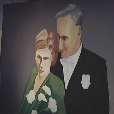 Jouko Lempisen seinämaalaus He tahtoivat elämiensä loppuun saakka, molemmat.