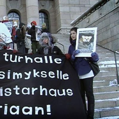 Mielenosoittajia plakaateineen Eduskuntatalon rappusilla.