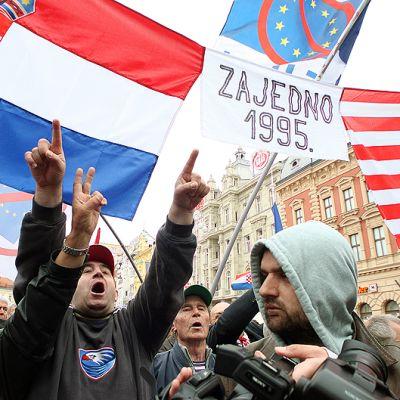 Mielenosoittajia.