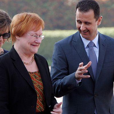 Syyrian presidenttin Bashar al-Assad ja tämän vaimo Asma Assad sekä Tarja Halonen.