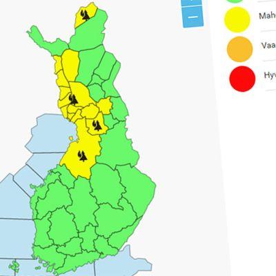 Kuvankaappaus Ilmatieteen laitoksen metsäpalovaroituskartasta.