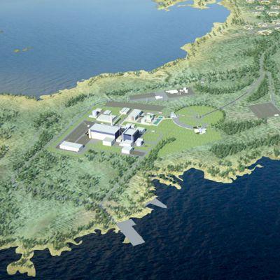 Fennovoiman havainnekuva Hanhikivenniemelle sijoitettavasta ydinvoimalaitoksesta.