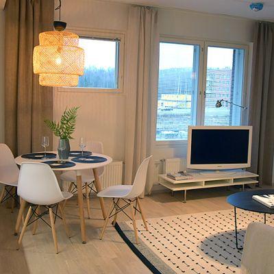 Pienen asunnon keittiö-olohuone-yhdistelmä