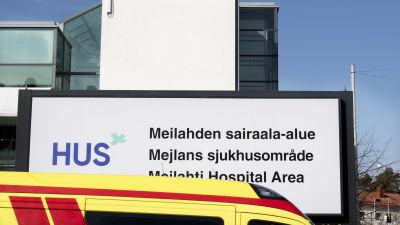 Meilahden sairaala-alueen kyltti.