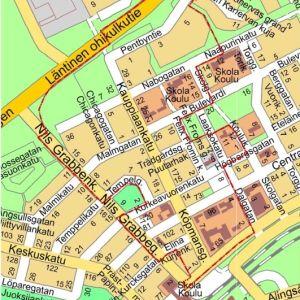 En karta som visar vilket område i Karis centrum som ska få en ny detaljplan.