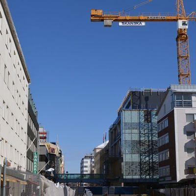 Kauppakeskus Valkean rakennustyömaa Oulussa.