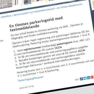 Skärmdump med parkeringspriser ovanpå en bild på Bulevarden i Helsingfors