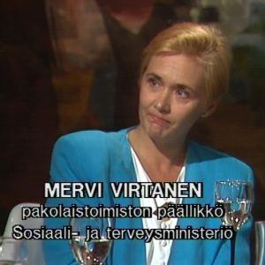 Mervi Virtanen Sana sanasta -ohjelmassa 1992