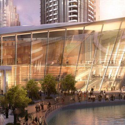 Havainnekuva Dubain oopperatalosta.