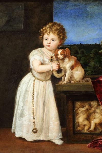 Pienen lapsen ja koiran muotokuva 1500-luvulta