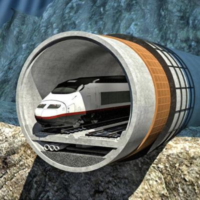 En vision på hur tunneln kunde se ut. Tåget kommer ut ur tunneln.