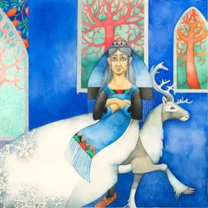 Louhi sitter på en ren i en målning.