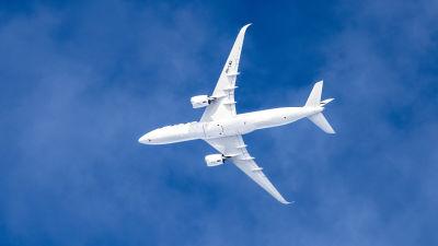 Ett flygplan i luften fotograferat underifrån.