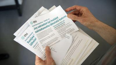 Medborgarbrev av THL med instruktioner för coronaviruset.