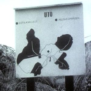 Taulu, jossa näkyy Utön sotilasalueet