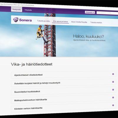 Kuvakaappaus Soneran nettisivuilta.