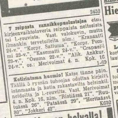 Sota-ajan seuranhakuilmoituksissa käytettiin melko suorasukaistakin kieltä.