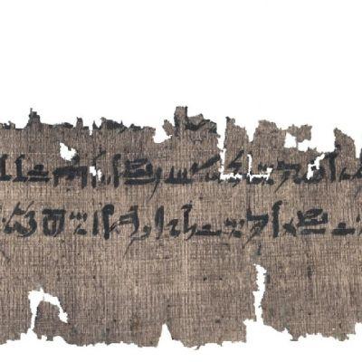 Repalainen palanen papyrusta, jossa näkyy kaksi riviä hieroglyfejä.