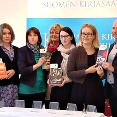 Kandidaterna till Fack-Finlandia 2014. Mirkka Lappalainen, Antti Järvi, Hanna Nikkanen, Aila Ruoho, Vuokko Ilola, Minna Maijala, Merina Salminen, Pekka Nykänen, Samuli Tiikkaja.