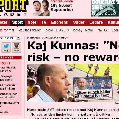 Kunnas väcker debatt i svensk press.