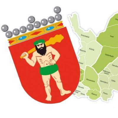 Lapin vaakuna ja Lapin seutukuntakartta