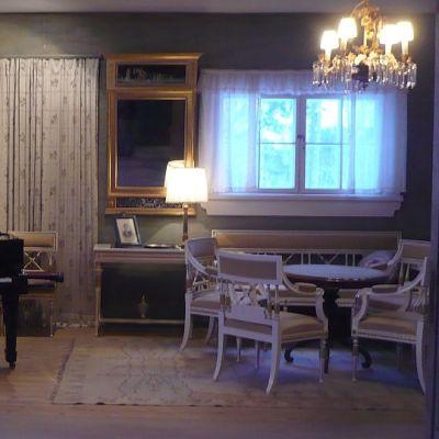Näkymä ruokasalista Ainolan saliin.