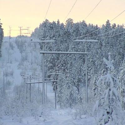 Lumisessa maisemassa kulkeva sähkölinja